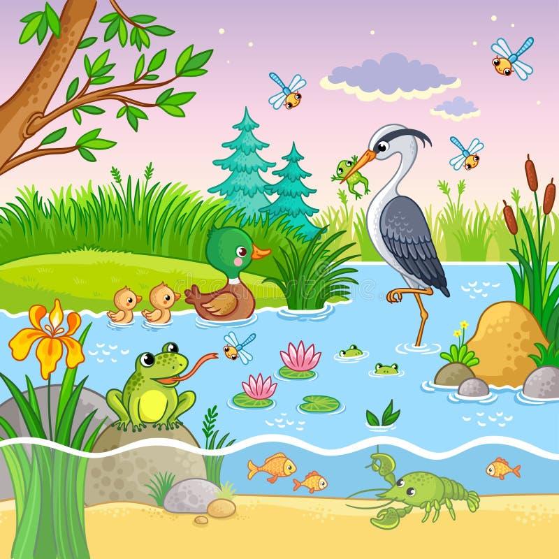 Комплект вектора с природой и животными в стиле шаржа ` s детей иллюстрация вектора