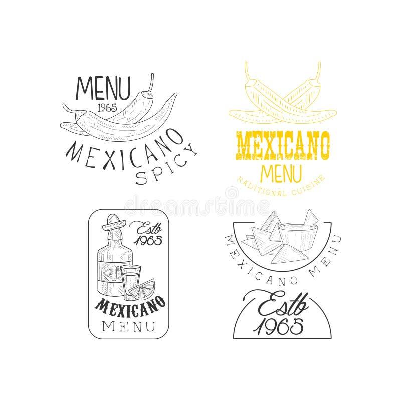 Комплект вектора творческих эмблем для традиционных мексиканских ресторанов Monochrome логотипы с перцами chili, текила и иллюстрация вектора