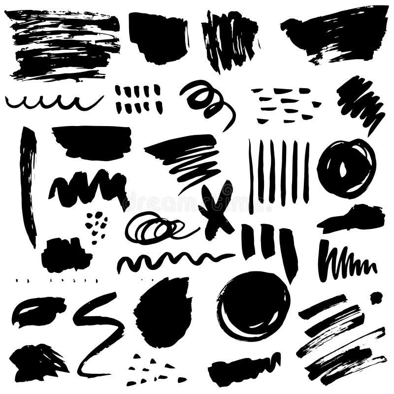 Комплект вектора текстур и элементов щетки стоковые изображения
