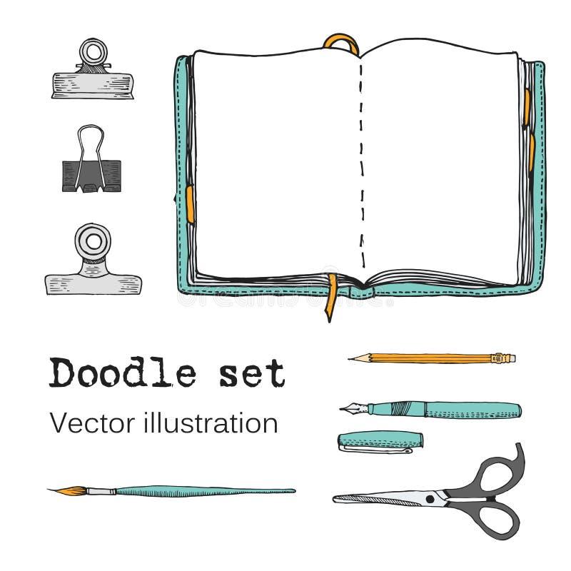 Комплект вектора тетрадей, блокнотов и дневников эскиза Вещество офиса Doodle канцелярские принадлежности, ручка, карандаш, ножни иллюстрация вектора