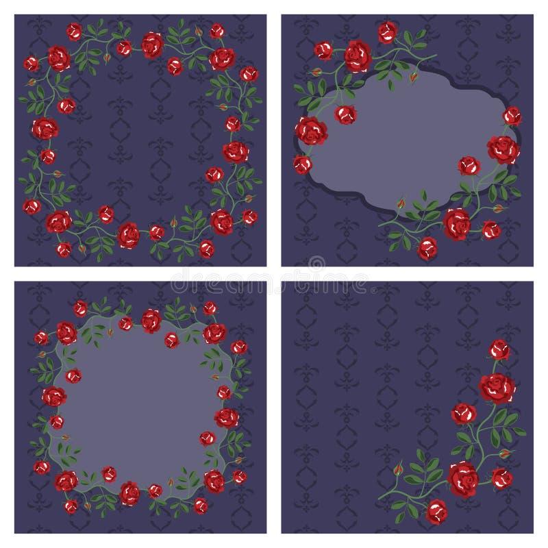 Комплект вектора флористических рамок иллюстрация вектора