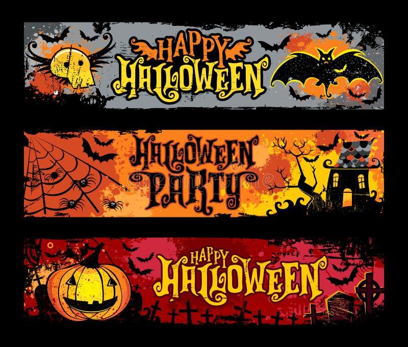 Комплект вектора хеллоуина горизонтальных знамен grunge иллюстрация штока