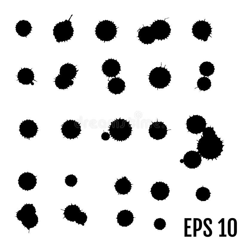Комплект вектора чернил брызгает desi grunge собрания splatter помарками иллюстрация штока