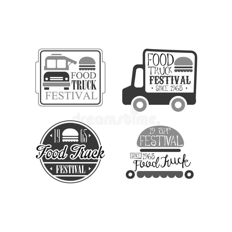 Комплект вектора 4 шаблонов логотипа для кафа тележки еды Кафе бургера на колесах Творческие monochrome эмблемы иллюстрация штока