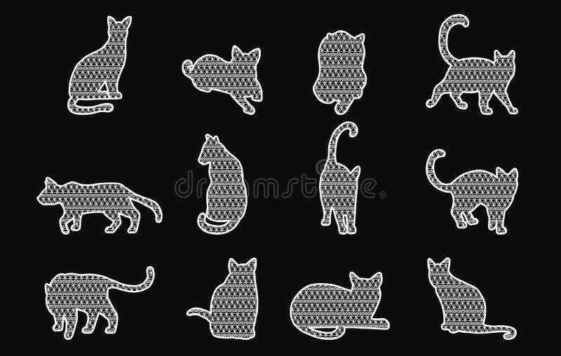 Комплект вектора шнурка кота на черной предпосылке иллюстрация вектора