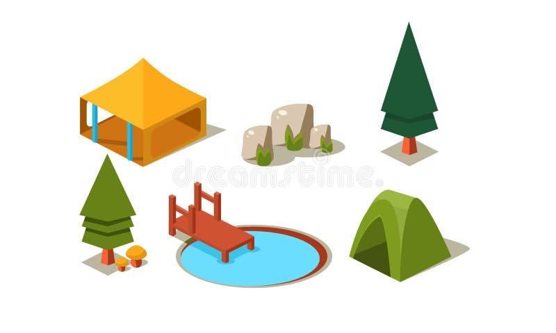Комплект вектора элементов равновеликого леса располагаясь лагерем Шатры, деревья, камни и озеро с деревянной пристанью Объекты д иллюстрация штока