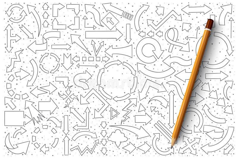 Комплект вектора doodle стрелок иллюстрация вектора