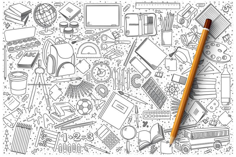 Комплект вектора doodle школы бесплатная иллюстрация
