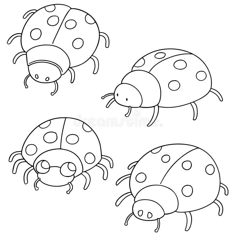 Комплект вектора ladybug иллюстрация штока