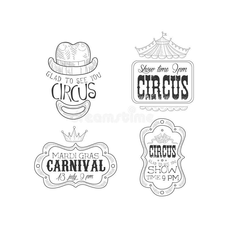 Комплект вектора monochrome логотипов для цирка и масленицы марди Гра Сделайте эскиз к эмблемам с шляпой ` s клоуна и изреките, к иллюстрация вектора