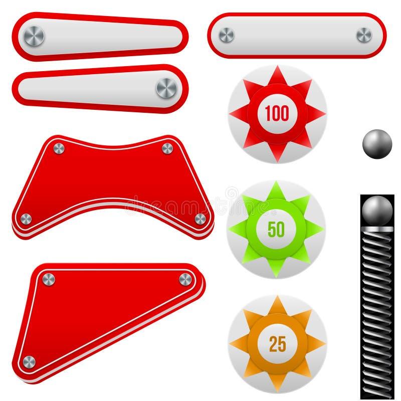 Комплект вектора Pinball иллюстрация вектора