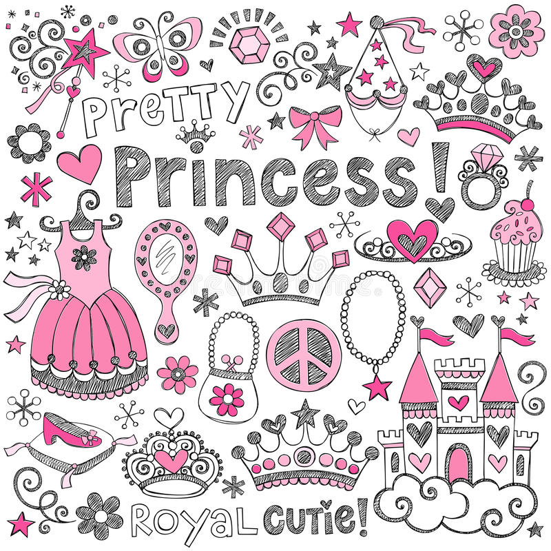Комплект вектора Princess Тиары Королевской власти Схематичный Doodles иллюстрация вектора