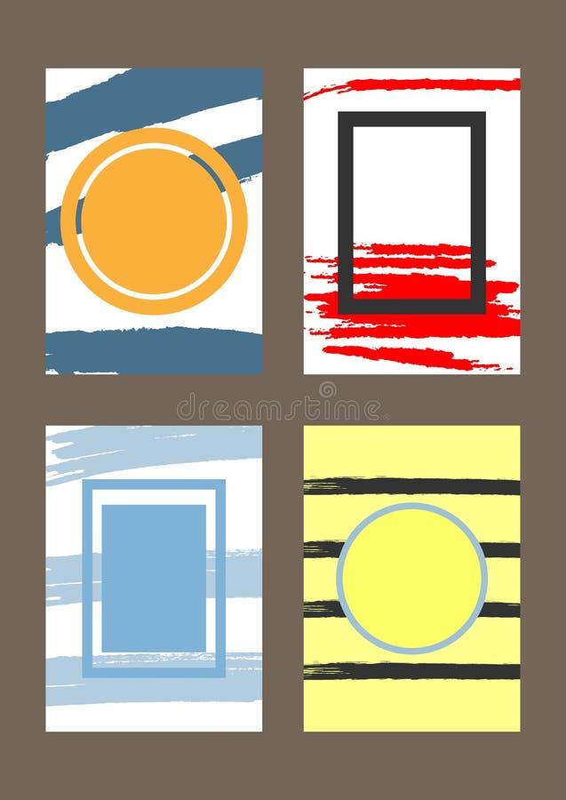 Комплект вертикальных ультрамодных шаблонов с рамками для дизайна поздравительных открыток, крышек, приглашений, рогулек иллюстрация вектора