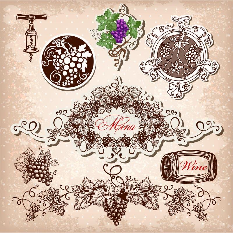 комплект вина, виноградин и winemaking иллюстрация вектора