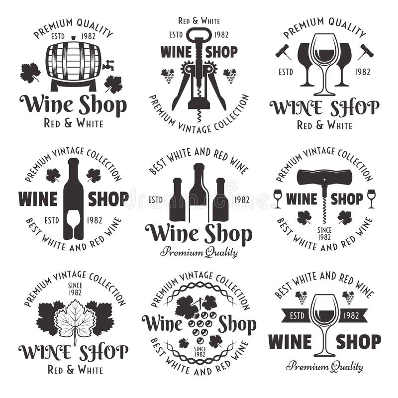 Комплект винного магазина эмблем года сбора винограда черноты вектора иллюстрация штока