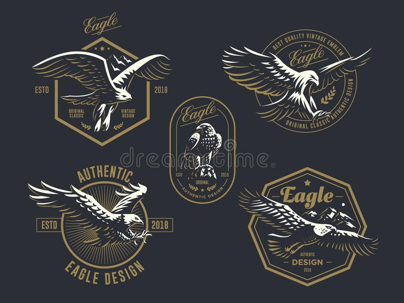 Комплект винтажного логотипа с орлом иллюстрация штока