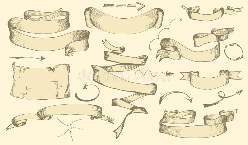 Комплект винтажной знамен нарисованных рукой, ленты и элементы стрелок для поздравительных открыток или приглашения украшения Нар иллюстрация вектора