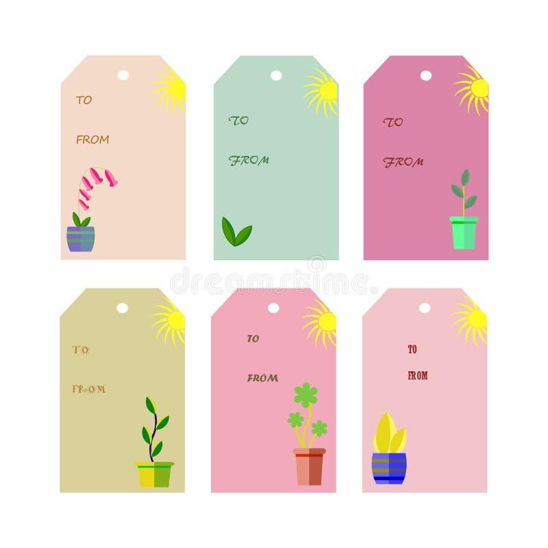 Комплект 6 винтажных бирок подарка с баками и солнцем завода бесплатная иллюстрация