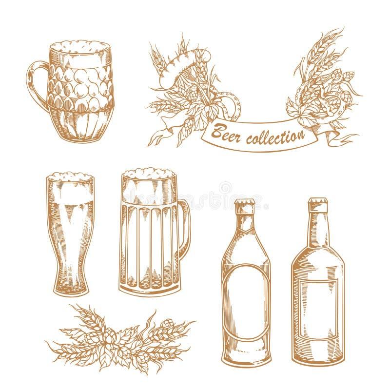 Комплект винтажных иллюстраций вектора кружки пива, стекла, бутылок с хмелем, ячменя, шатона и сосисок иллюстрация вектора