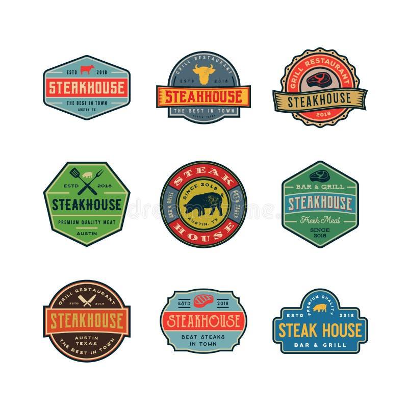 Комплект винтажных логотипов стейкхауса также вектор иллюстрации притяжки corel бесплатная иллюстрация