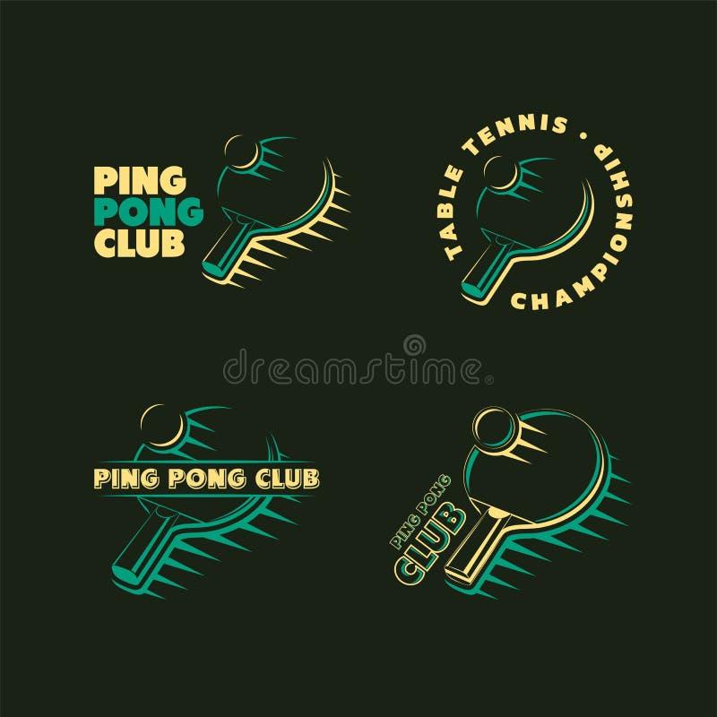 Комплект винтажных логотипов теннисного турнира клуба и таблицы пингпонга, ярлыков и значков иллюстрация вектора