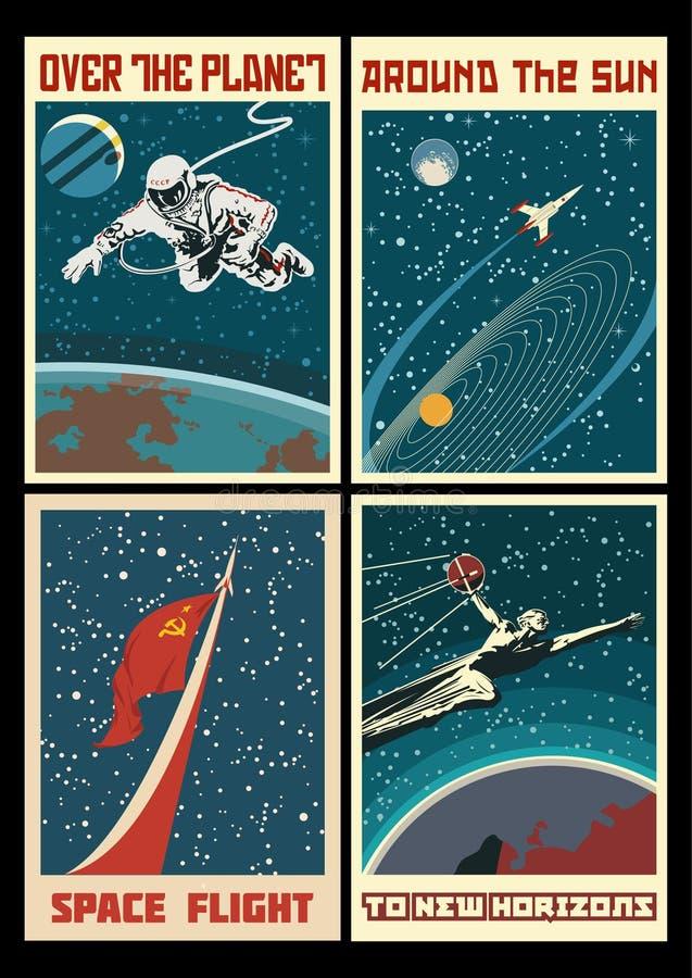 Комплект винтажных плакатов космоса СССР стоковое изображение rf