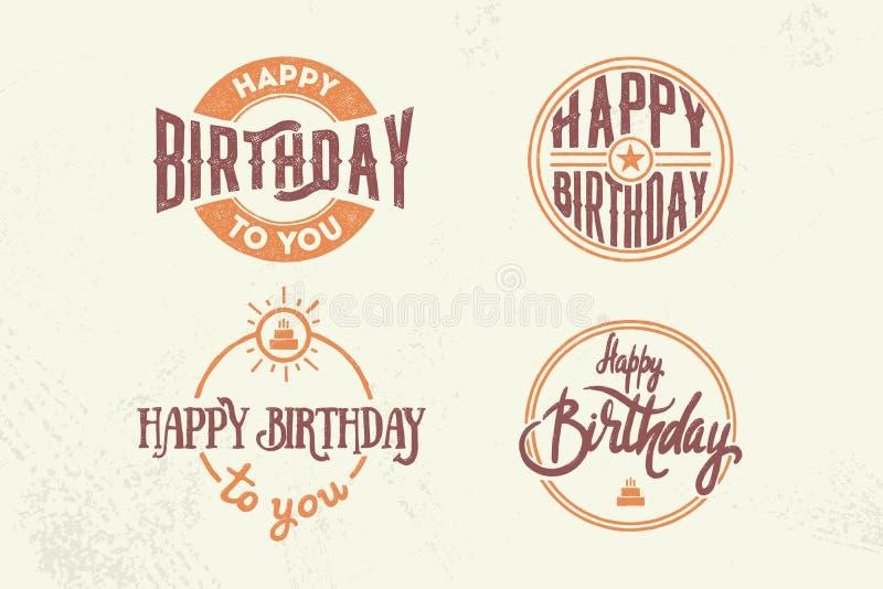 Комплект 4 винтажных поздравительых открыток ко дню рождения с литерностью, торт и звезда на праздник конструируют иллюстрация штока