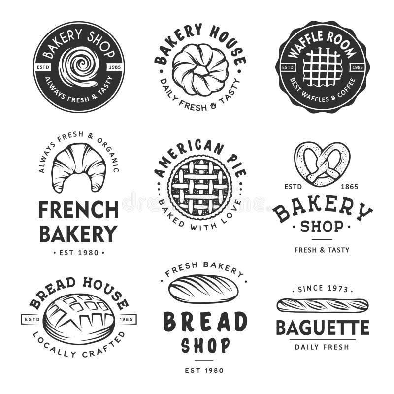 Комплект винтажных ярлыков, значков, эмблем и логотипа магазина хлебопекарни стиля иллюстрация вектора