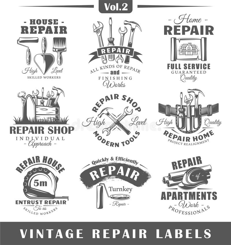 Комплект винтажных ярлыков ремонта VOL. 2 иллюстрация вектора