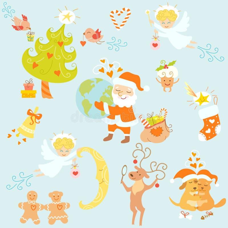 комплект влюбленности рождества бесплатная иллюстрация
