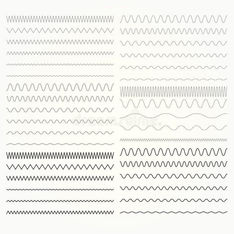 Комплект волнистых линий - зигзаг граничит собрание бесплатная иллюстрация