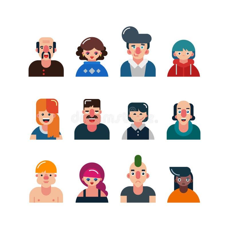 Комплект воплощений людей плоских чертеж смотрит на женский мыжской вектор smileys смешные характеры людей и женщин также вектор  иллюстрация штока