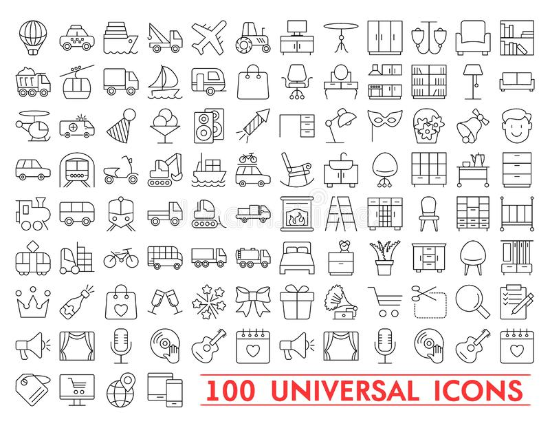 Комплект всеобщих значков для сети и черни Большой пакет современной minimalistic, тонкой линии значков иллюстрация штока