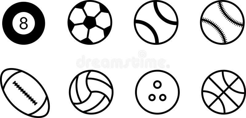 Комплект высококачественных черно-белых значков шариков бесплатная иллюстрация