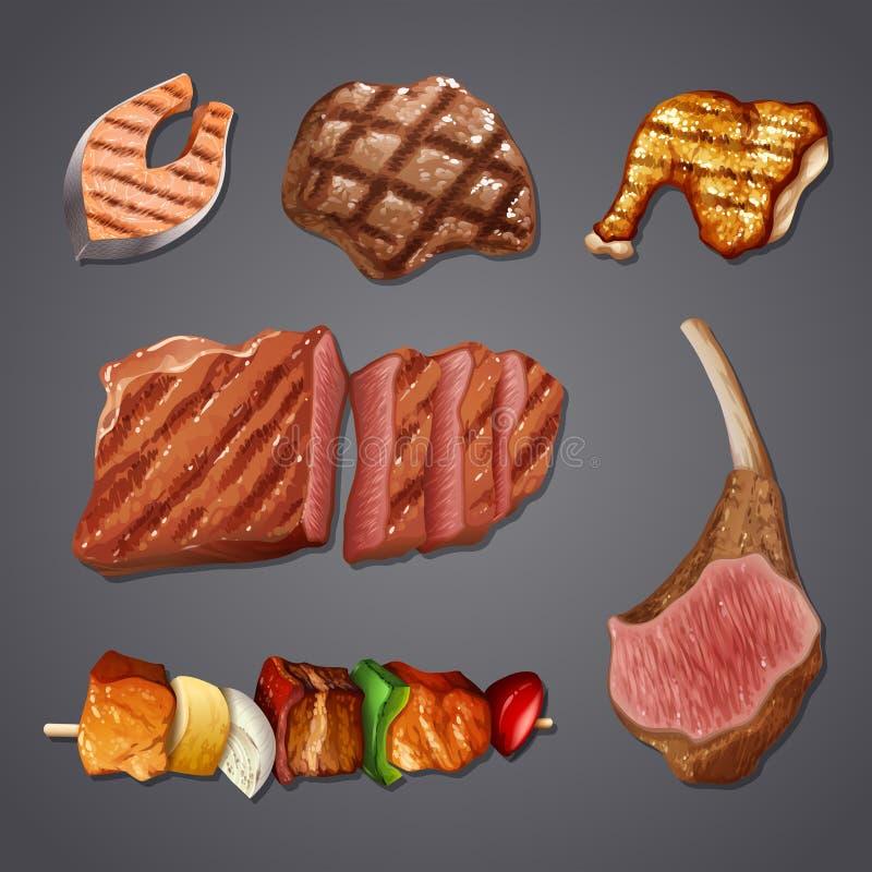 Комплект высоко- еды протеина иллюстрация вектора