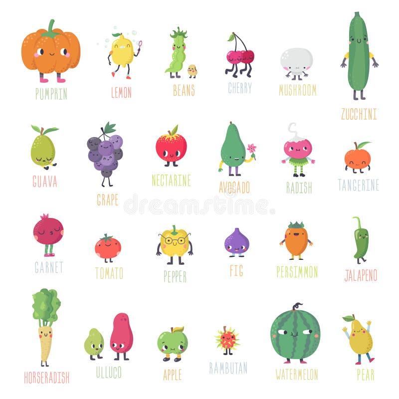 Комплект в реальном маштабе времени вектора плодоовощей & овощей милого шаржа Часть первая иллюстрация штока