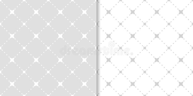 Комплект геометрических орнаментов Свет - серые безшовные картины иллюстрация штока