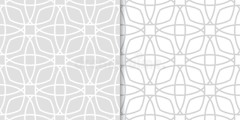 Комплект геометрических орнаментов Свет - серые безшовные картины бесплатная иллюстрация