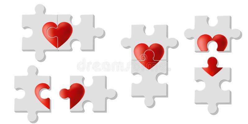 Комплект головоломок сердца представляет влюбленность на белой предпосылке иллюстрация вектора