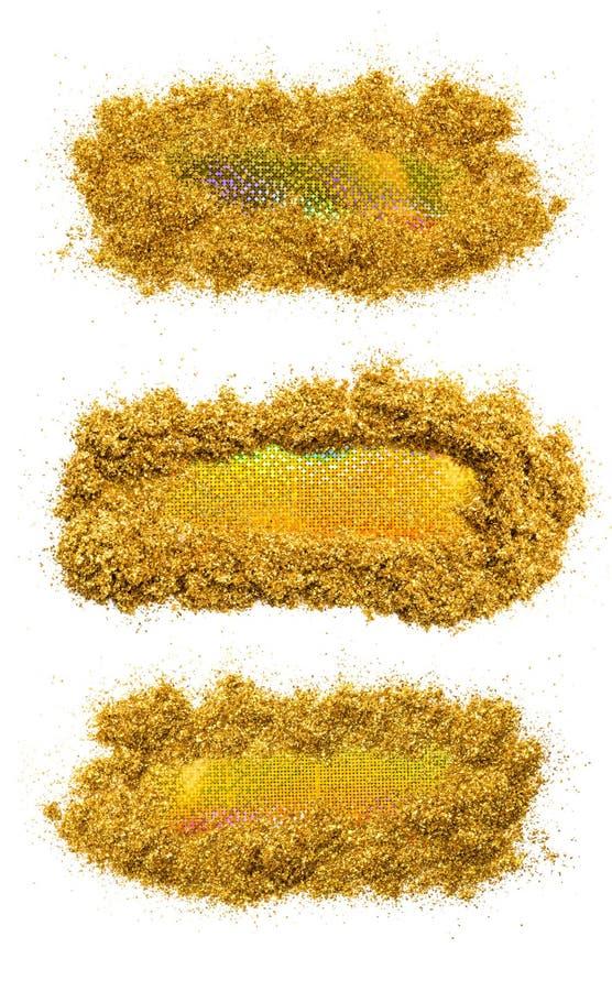 Комплект голографического rinse с sparkles золота, изолированный на белой предпосылке вектор текста иллюстрации рамки стоковая фотография