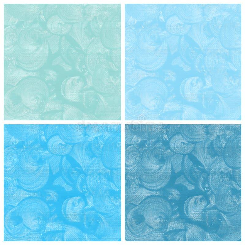 Комплект голубой покрашенной руки конспекта акварели иллюстрация штока