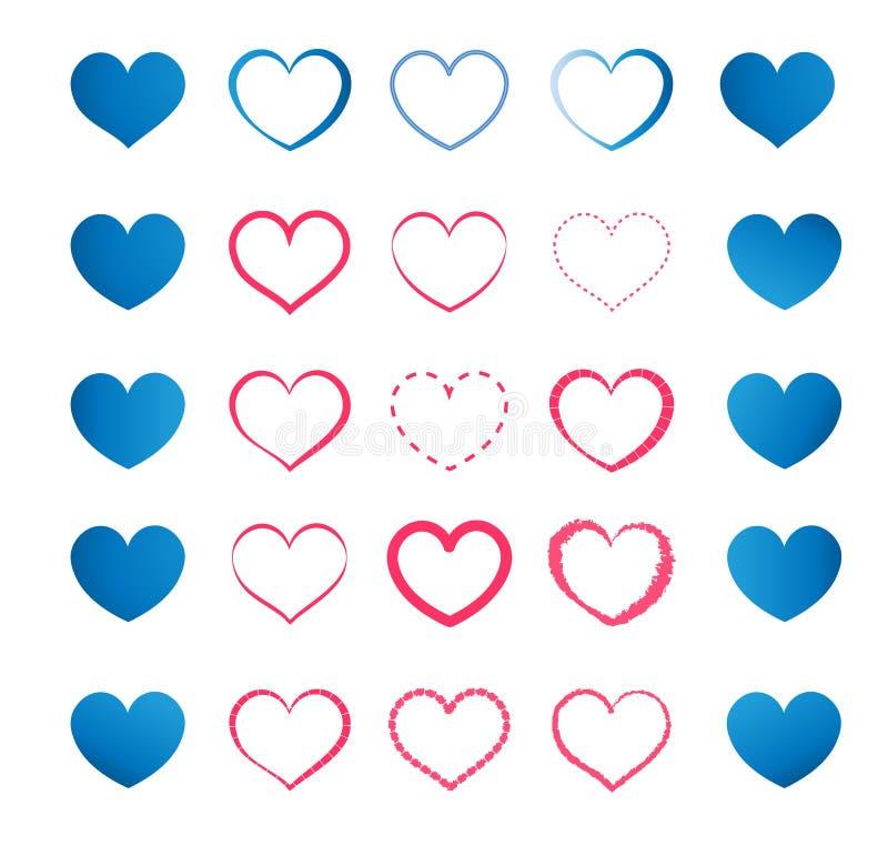 Комплект голубых и красных сердец стоковое изображение rf
