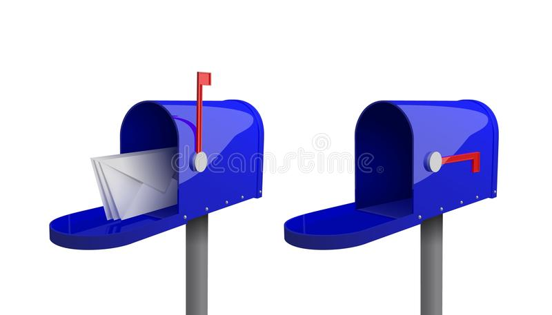 Комплект голубых почтовых ящиков с закрытой дверью, поднятым флагом, с открыть дверью и письмами внутрь иллюстрация штока