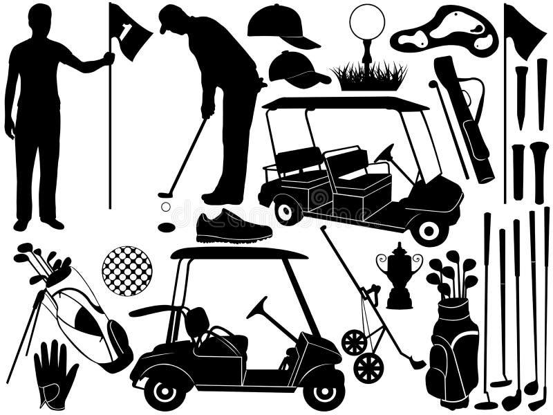 Комплект гольфа иллюстрация вектора