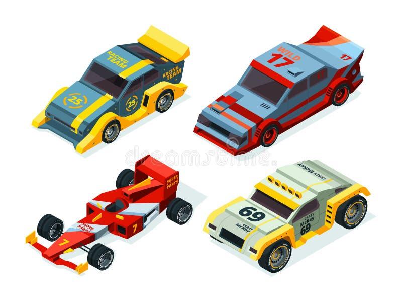 Комплект гоночной машины гоночные автомобили 3D Равновеликие изображения спорта иллюстрация вектора
