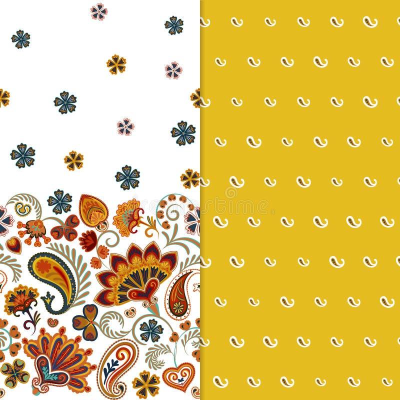 Комплект горизонтального безшовного цветочного узора 2 с Пейсли и фантазией цветет граница Текстура нарисованная рукой для одежд бесплатная иллюстрация