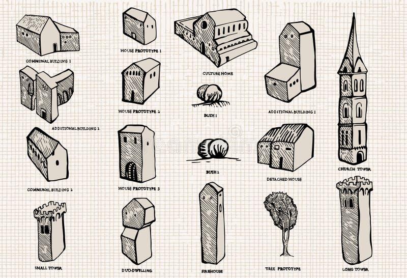 комплект города старый иллюстрация вектора