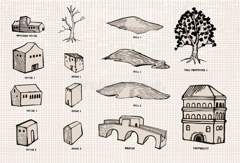 комплект города старый бесплатная иллюстрация