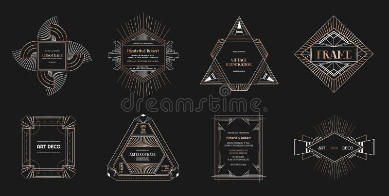 Комплект границ и рамок стиля Арт Деко Геометрический шаблон в стиле Gatsby 1920s для вашей карточки свадьбы, сохраняет дизайн да иллюстрация вектора