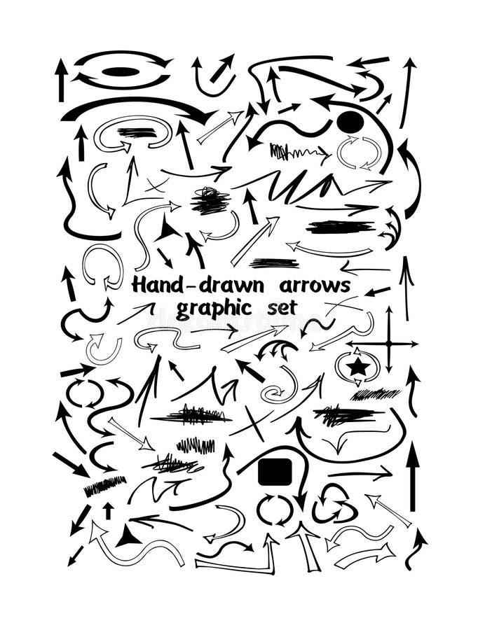 Комплект графика много нарисованного вручную стрелок бесплатная иллюстрация